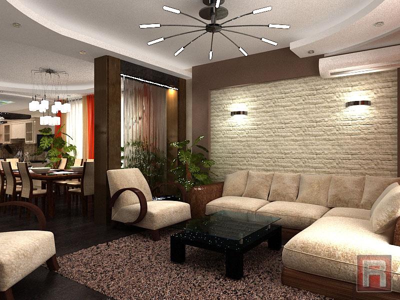 Интерьер кухни, дизайн гостиной и спальни